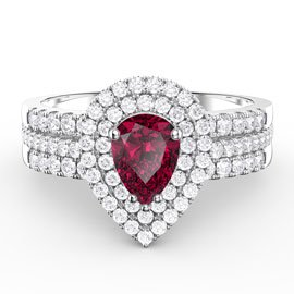 Fusion Ruby Pear Halo White Sapphire Eternity Platinum plated Silver Promise Ring Set