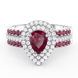 Fusion Ruby Pear Halo Eternity Platinum plated Silver Promise Ring Set