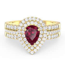 Fusion Ruby Pear Halo White Sapphire Eternity 18ct Gold Vermeil Promise Ring Set