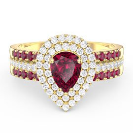 Fusion Ruby Pear Halo Eternity 18ct Gold Vermeil Promise Ring Set