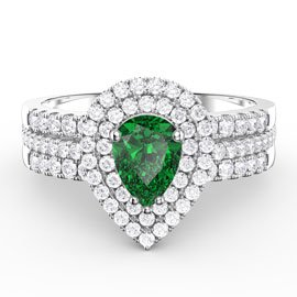 Fusion Emerald Pear Halo Eternity Platinum plated Silver Promise Ring Set