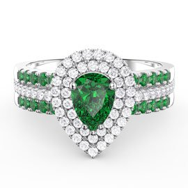 Fusion Emerald Pear Halo Emerald Eternity Platinum plated Silver Promise Ring Set