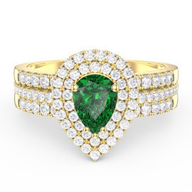 Fusion Emerald Pear Halo Eternity 18ct Gold Vermeil Promise Ring Set