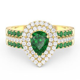 Fusion Emerald Pear Halo Emerald Eternity 18ct Gold Vermeil Promise Ring Set