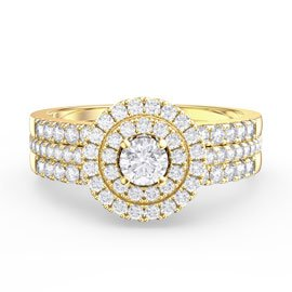 Fusion White Sapphire Halo 18ct Gold Vermeil Half Eternity Promise Ring Set