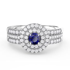 Fusion Sapphire Halo Platinum plated Silver Promise Sapphire Eternity Ring Set