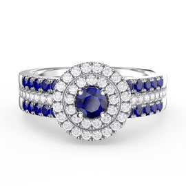 Fusion Sapphire Halo Sapphire Eternity Platinum plated Silver Promise Ring Set
