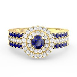 Fusion Sapphire Halo Sapphire Eternity 18ct Gold Vermeil Promise Ring Set