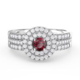 Fusion Ruby Halo Platinum plated Silver White Sapphire Eternity Promise Ring Set