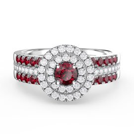 Fusion Ruby Halo Platinum plated Silver Ruby Eternity Promise Ring Set