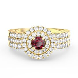 Fusion Ruby Halo 18ct Gold Vermeil White Sapphire Eternity Promise Ring Set