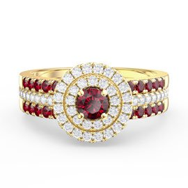 Fusion Ruby Halo 18ct Gold Vermeil Ruby Eternity Promise Ring Set