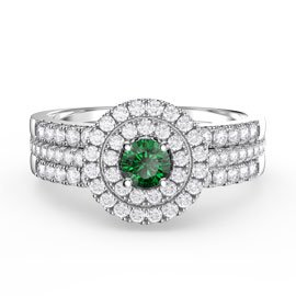 Fusion Emerald Halo Platinum plated Silver White Sapphire Eternity Promise Ring Set