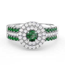 Fusion Emerald Halo Platinum plated Silver Emerald Eternity Promise Ring Set