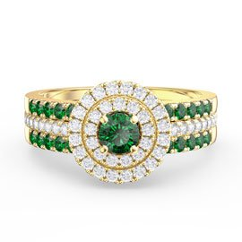 Fusion Emerald Halo 18ct Gold Vermeil Emerald Eternity Promise Ring Set