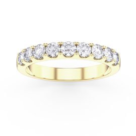 Promise White Sapphire 18ct Gold Vermeil Half Eternity Ring 3mm Band