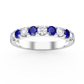 Promise Sapphire and Diamond Platinum Half Eternity 3mm Ring Band