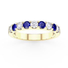 Promise Sapphire 18ct Yellow Gold Vermeil Half Eternity 3mm Ring Band