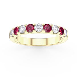 Promise Ruby 18ct Gold Vermeil Half Eternity Ring 3mm Band