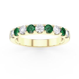 Promise Emerald 18ct Yellow Gold Vermeil Half Eternity 3mm Ring Band