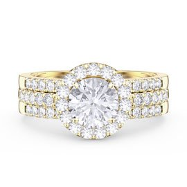 Eternity White Sapphire Halo and Half Eternity 18ct Gold Vermeil Promise Ring Set