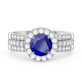Eternity Sapphire Halo Half Eternity Platinum plated Silver Promise Ring Set