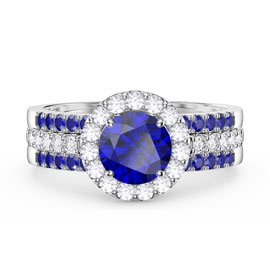 Eternity Blue Sapphire Halo and Half Eternity Platinum plated Silver Promise Ring Set