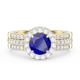 Eternity Sapphire Halo Half Eternity 18ct Gold Vermeil Promise Ring Set