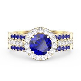 Eternity Blue Sapphire Halo and Half Eternity 18ct Gold Vermeil Promise Ring Set