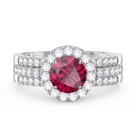 Eternity Ruby Halo Half Eternity Platinum plated Silver Promise Ring Set