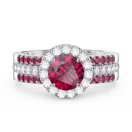 Eternity Ruby Halo and Half Eternity Platinum plated Silver Promise Ring Set