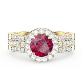 Eternity Ruby Halo Half Eternity 18ct Gold Vermeil Promise Ring Set