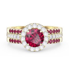 Eternity Ruby Halo and Half Eternity 18ct Gold Vermeil Promise Ring Set