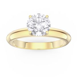 Unity 1ct White Sapphire 18ct Yellow Gold Proposal Ring
