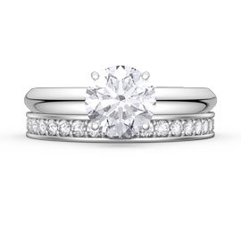 Unity 1.5ct White Sapphire Platinum plated Silver Promise Ring with Full Eternity Wedding Band