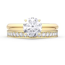 Unity 1.5ct White Sapphire Solitaire 18ct Gold Vermeil Full Eternity Promise Ring Set