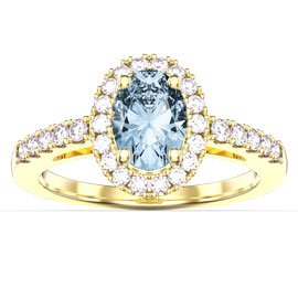 Eternity Aquamarine Oval Halo 18ct Yellow Gold Engagement Ring