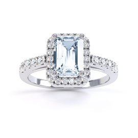 Princess Aquamarine and Diamond Platinum Emerald Cut Halo Engagement Ring