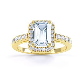 Princess Aquamarine Emerald Cut Halo 18ct Gold Vermeil Promise Ring