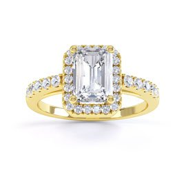 Princess White Sapphire Emerald Cut Halo 18ct Gold Vermeil Promise Ring