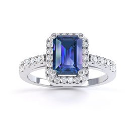 Princess Sapphire and Diamond Emerald Cut Halo Platinum Engagement Ring