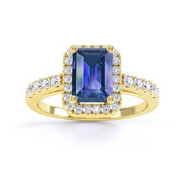 Princess Sapphire and Diamond Emerald Cut 18ct Yellow Gold Engagement Ring