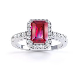 Princess Ruby and Diamond Emerald Cut Halo Platinum Engagement Ring