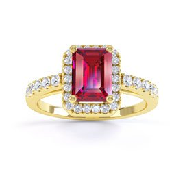 Princess Ruby and Diamond Emerald Cut Halo 18ct Yellow Gold Promise Ring