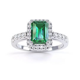 Princess Emerald Emerald Cut Halo Platinum plated Silver Promise Ring