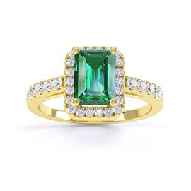 Princess Emerald Emerald Cut Halo 18ct Gold Vermeil Promise Ring