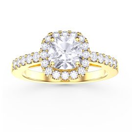 Princess White Sapphire Cushion Cut Halo 18ct Gold Vermeil Promise Ring