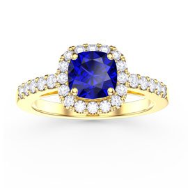 Princess Sapphire Cushion Cut Halo 18ct Gold Vermeil Promise Ring