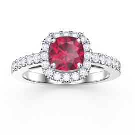 Princess Ruby Cushion Cut Halo Platinum plated Silver Promise Ring