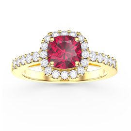 Princess Ruby Cushion Cut Halo 18ct Gold Vermeil Promise Ring